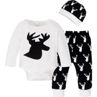 3pcs Christmas Clothing Sets Babies Long Sleeves Elk Print Romper + Pants + Hat  Baby Boys Children Clothes Sets